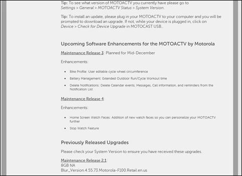 MOTOACTV - Settings - Device Management